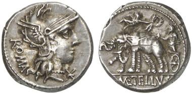 Römische Republik. Denar, 125 v. Chr. Rv. Iuppiter in Elefantenbiga, von links bringt Victoria einen Kranz. Aus Auktion Künker 204 (2012), 435.