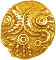 1. Corded Crescents gold quarter stater, 10mm, 0.97g, c.50-30 BC. Found near Winchester, 7.3.2014, and previously unpublished.