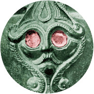 3. For 500 years surrealistic hidden faces were a common feature of Iron Age art. The coin's bearded head is not dissimilar in style to one on a bronze flagon, c.450 BC, from Basse-Yutz, NE France. Picture (flagon detail) by Paul Jacobsthal, Early Celtic Art, OUP 1969, pl.381b, © The British Museum.
