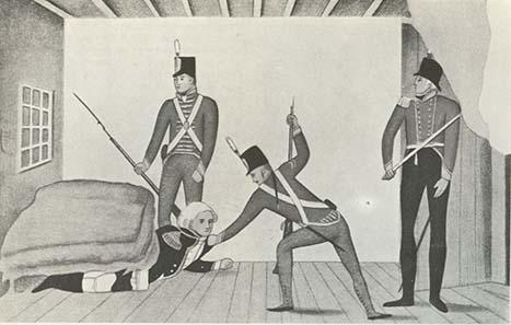 Bligh wird verhaftet - propagandistische Karikatur, die Bligh als Feigling darstellt. Sydney 1808. State Library of New South Wales. Foto: Wikipedia.