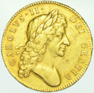 CHARLES II, 1679, FIVE GUINEAS, SECOND BUST.