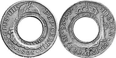 Holey dollar und dump - oder wie man aus einer Münze zwei macht. Foto: Holey dollar - Leu Numismatik AG 89 (2003), 466, dump - Spink 194 (2007), 194.