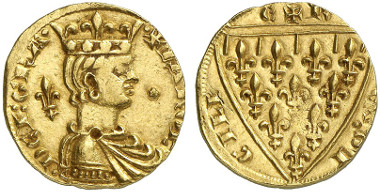 Charles I of Naples. Reale d'oro o. J., Messina. From Künker auction sale 239 (2013), 5302.