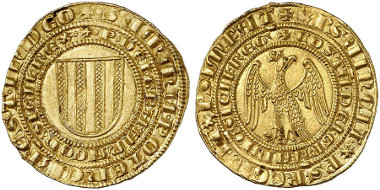 Peter III of Aragon and Constance, 1282-1285. Pierreale d'oro o. J., Messina. From Künker auction sale 245 (2014), 302.
