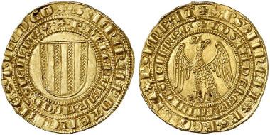Pietro von Aragon und Constanze, 1282-1285. Pierreale d'oro o. J., Messina. Aus Auktion Künker 245 (2014), 302.