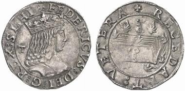 Friedrich III. von Aragon, 1496-1501. Carlino, Neapel. Aus Auktion Künker 127 (2007), 4985.