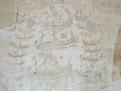 Die Schlacht von Lepanto. Malereien im Palazzo Chiaramonte. Foto: KW.