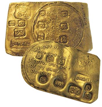 Gold ingot produced under government supervision. It was not Australia's first currency but at least a precursor. Only eight of these rare precious objects have survived.  Photo: Royal Australian Mint.