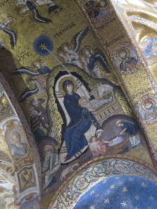Christi Geburt. Mosaik in der Martorana. Foto. KW.