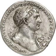 Trajan. Medallion, 106-107, Rome. Obv. IMP CAES NERVAE TRAIANO AVG GER DAC P M TR P COS V P P laureate bust and aegis on l. shoulder r. Rev. ADVENTVS AVG / SPQR OPTIMO PRINCIPI Trajan in military garments riding with lance r., female deity (Felicitas?) with cornucopia and caduceus(?) in front, helmeted, naked Mars with lance and round shield behind, two soldiers in the background. RIC -. C. 1var. Strack 118var. BMC 257var. MIR 259var. Mittag p. 138 Tra 6. In Swiss private collection since the 1970s, acquired afterwards in 1984. Unique specimen. Light toning, tiny scratches on both obverse and reverse, about extremely fine. Estimate: 150,000 euros. Ex Gorny & Mosch 224 (13 October, 2014) lot 511.