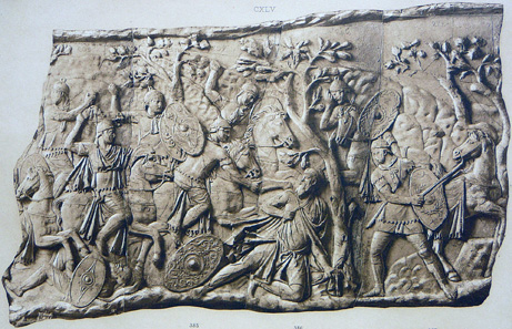 Death of Decebalus. Detail of the Trajan's Column after Conrad Cichorius (1863-1932), pl. XVI. / Wikipedia.