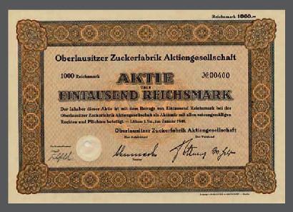 Aktie der Oberlausitzer Zuckerfabrik AG Löbau, 1940.