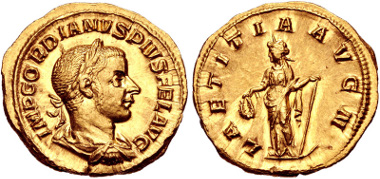 348: Gordian III. Aureus (20mm, 5.43 g, 12h). Rome mint, 3rd officina. 8th-11th emissions, late AD 240-early 243. RIC IV 101; Calicó 3202a; Biaggi 1359. Near EF, minor hairlines, tiny obverse die break. Lustrous. Estimate: $3,000.