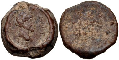 338: Septimius Severus. PB Uniface Seal (23mm, 19.62 g). Fine, brown patina. Estimate: $150.