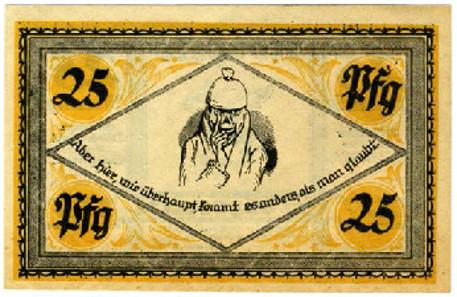 Ersatznotgeldscheine 1921 der Gemeinde Stolzenau mit Zitaten von Wilhelm Busch. Es entstanden ganze Serien solcher Scheine, z.T. mit abgeschlossenen Bildergeschichten, die Sammelbildcharakter hatten.