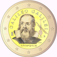 The Galileo 2-euro coin is one of the two circulating commemorative 2-euro coins for Italy in 2014.