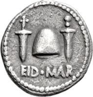 122: Bürgerkriege. Brutus. Denar. 43/42 v. Chr. Taxe: EUR 75.000.