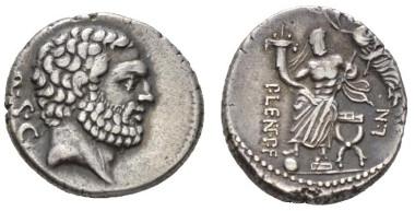 179: P. Cornelius Lentulus Spinther. Denarius circa 74, 18mm, 3.78g. Babelon Cornelia 58. Sydenham 791. Crawford 397/1. Ex NAC sale 73, 2013, 124. From the