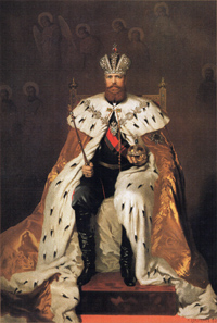 Alexander III wearing the coronation robes, with the Collar of the Imperial Order of St. Andrew the Apostle the First-Called around his neck.