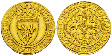 233: France. Charles VI. Gold coin (ecu d'or à la couronne) (29 mm, 3.92 g), Toulouse, 1394. Dupl. 369c. Rare in this state. Extremly fine. Estimate: 1,500 CHF.