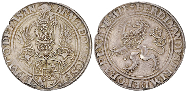 136: Holy Roman Empire of the German Nation. Schlick, County. Stefan, Burian, Hieronymus, Heinrich and Lorenz. Taler 1528 (40 mm, 29.07 g), Joachimstal. Dav. 8148; Doneb. 3782. Extremely rare. Almost extremely fine. Estimate: 3,000 CHF.