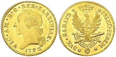 296: Savoy. Vittorio Amadeo III. Doppio nuovo 1792 (25 mm, 9.11 g), Torino. KM C67; Fr. 1120. Rare. BU. Estimate: 3,500 CHF.