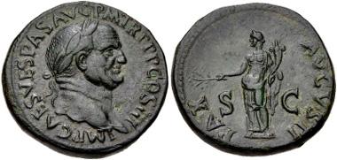 464: Vespasian. Sestertius (33mm, 25.15 g, 5h). Rome mint. Struck AD 71. RIC II 243. VF, dark green patina, very minor roughness. Estimate: $1,000,00.