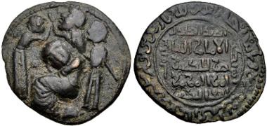 700: ISLAMIC, Anatolia & al-Jazira (Post-Seljuk). Artuqids (Mardin). Husam al-Din Yuluq Arslan. Dirhem (31mm, 13.86 g, 9h). Unnamed (Mardin?) mint. Dated AH 589 (Struck after 4 March AD 1193). Whelan Type III, p. 97; S&S Type 35.2; Album 1829.3. Good VF, earthen dark brown patina. Estimate: $300,00.