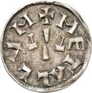 Nr. 2034: KAROLINGER. Ludwig der Fromme (814-140). Denar, Melle. Depeyrot 607. Sehr selten. Sehr schön. Taxe: 2.000,- Euro.