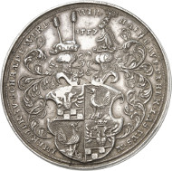 Lot 3287: HENNEBERG. William VI (1492-1559). Presentation coin in the weight of 3 thaler 1557 (coinage from later times, presumably from the 16th or the 17th cent.). Heus p. 187, fig. 107. Single known specimen of this weight. About extremely fine. Estimate: 5,000,- euros.