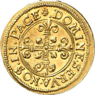 Zurich. 1/2 krone n. y. (c. 1560) from dies cut by Jakob Stampfer. HMZ 2-1120a. Ex Theodor Grossmann Coll., auction sale Leo Hamburger 1926, lot 223 and Wüthrich Coll., auction sale MMAG 45, 1971, lot 452. Extremely fine to uncirculated. Auction sale Künker 256 (9 October, 2014), lot 6778.