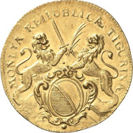 Zurich. Double ducat 1716. HMZ 2-1160f. Ex Wüthrich Coll., auction sale MMAG 45 (1971), 561 and Hegibach Coll., auction sale Hess-Divo 279 (1999), 235. Extremely fine. Auction sale Künker 256 (9 October, 2014), lot 6792.