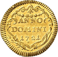 Zurich. 1/4 ducat 1721. HMZ 2-1163l. Ex Hegibach Coll., auction sale Hess-Divo 279 (1999), 329. Extremely fine to uncirculated. Auction sale Künker 256 (9 October, 2014), lot 6794.