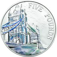 Tower Bridge. UK/ 5 GBP/ Silver .925/ 28.28 g/ 38.61 mm/ Design: Glyn Davies & Laura Clancy/ Mintage: 3,500.