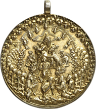 Lot 3369: JAGGI COLLECTION. Gilded and mounted presentation medallion 1539, signed HR (Hans Reinhard the Elder). Extremely rare. Antique gold plated, extremely fine original cast. Estimate: 2,500 euros.