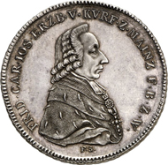 Lot 3736: COLLECTION OF A NUMISNAUTIC. Mainz, Archbishopric. Friedrich Karl Josef von Erthal, 1774-1802. Konventionsthaler 1795, Mainz. Ex Peus 404-405 (2011), lot 796. Extremely rare. Proof. Estimate: 15,000 euros.