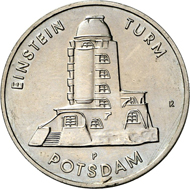 Lot 7951: GDR. 5 mark pattern 1986. Einstein Tower Potsdam. Y. 1610. Unique specimen. Mintage: only 10 specimens. Uncirculated. Estimate: 20,000 euros.