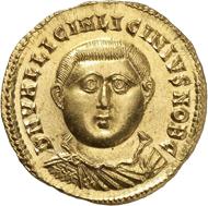 Nr. 9099: LICINIUS II. (317-324). Aureus, 321/322, Nikomedia. RIC 42. Sehr selten. Vorzüglich. Taxe: 60.000 Euro.