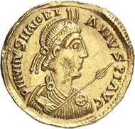 Lot 9222: THEODERICH II (453-466). Solidus in the name of Majorian, 459/461. RIC 3742 (this spec. illustrated). Extremely rare. Extremely fine. Estimate: 15,000 euros.