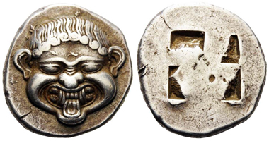 14366. MACEDON, Neapolis. Circa 500-480 BC. Stater (Silver, 20mm, 9.87 g). SNG ANS 418. SNG Oxford 2320. Svoronos pl. IX, 37. An impressive example with a magnificent head. Sharply struck and well centered. A few minor die flaws on the obverse, otherwise, extremely fine. Price: 14,500 CHF.
