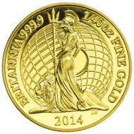 Gold Fortieth-Ounce Proof Coin. UK/ 50p/ Gold 999.9/ 0.8g/ 8 mm/ Design: Ian Rank-Broadley (obverse), Jody Clark (reverse)/ Mintage: 10,000.