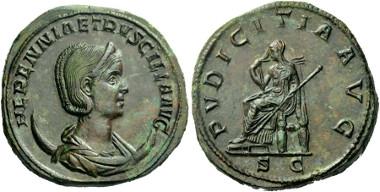 Doppelsesterz der Herennia Etruscilla: Ex NAC 40, 2007, 808. Schätzpreis: 40.000 CHF.