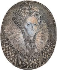 Lot 127: Elizabeth I, silver oval portrait medal by Simon de Passe, circa 1616. Estimate: £8,000 - 12,000.