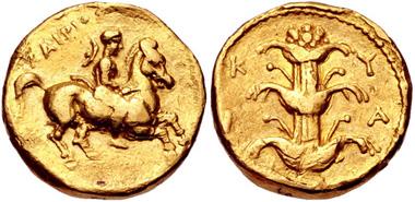 137. KYRENAICA, Kyrene. temp. Ophellas. Ptolemaic governor, first reign, circa 322-313 BC. AV Drachm. Naville 106; SNG Copenhagen 1199 var. (magistrate); BMC 131. VF, light marks and scratches. Estimate $1,000.
