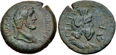 225. EGYPT, Alexandria. Antoninus Pius. Drachm, dated RY 5 (AD 141/2). Köln 1412 var. (obv. bust type); Dattari (Savio) 2867; K&G 35.163 var. (same); Emmett 1676.5. VF, green patina, light smoothing. Estimate $150.