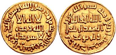 400. ISLAMIC, Umayyad Caliphate. temp. Yazid II ibn 'Abd al-Malik. AV Dinar, no mint name (probably Dimashq [Damascus]), AH 104 (AD 722/3). AGC I 43; Album 125. VF, graffiti on both sides. Estimate $500.