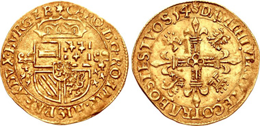 453. LOW COUNTRIES, Brabant (Hertogdom). Karel II (Karel V Rooms-keizer). Écu d'or au soleil. Antwerp mint; im: leaf/hand. (15)54. G&H 186-1; Delmonte, Or 102; Friedberg 62. Good VF, lightly toned. Estimate $1,000.