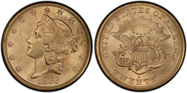 The 1866-S No Motto Double Eagle.