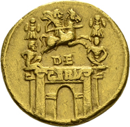 Claudius für Nero Claudius Drusus. Aureus 41/45, auf seine Erfolge in Germanien. C. 1; RIC 69. Ex Slg. Dr. K. Bech. ss.