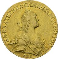 Katharina II. die Große. 10 Rubel, 1766, St. Petersburg. Bitkin 13-14 var.; Diakov 123-124 var.; F. 129 a. Kleiner Schrötlingsfehler, ss/vz.
